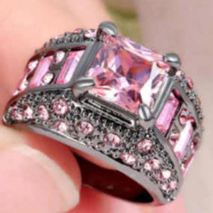 Jewelry - Pink Sapphire Black 18k Gold Fill Ring GF Size 6.5